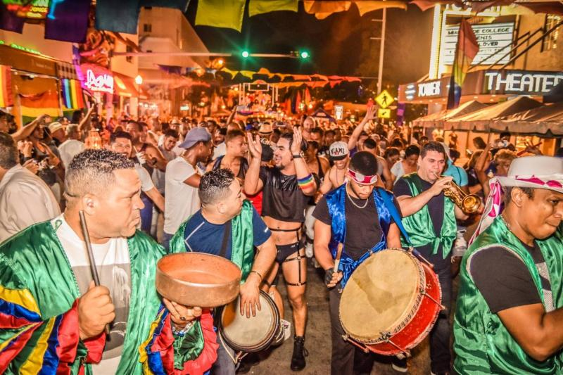 Performers and participants dance the length of Calle Ocho to close the 2018 Gay 8 Festival.