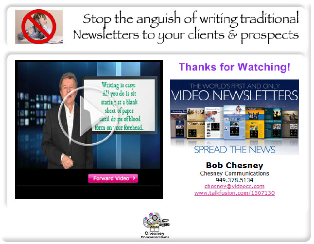 Click here to see an example of a video nesletter in PDF format