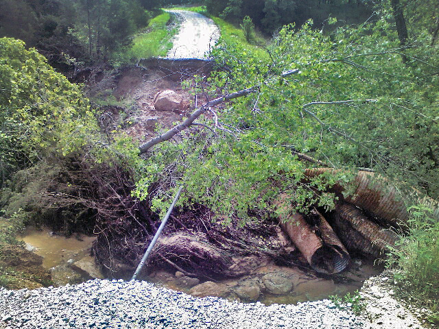 A 20-by-50-foot washout on Pear Orchard Road at Hickory Creek WMA. (xxxxxx  ODWC)