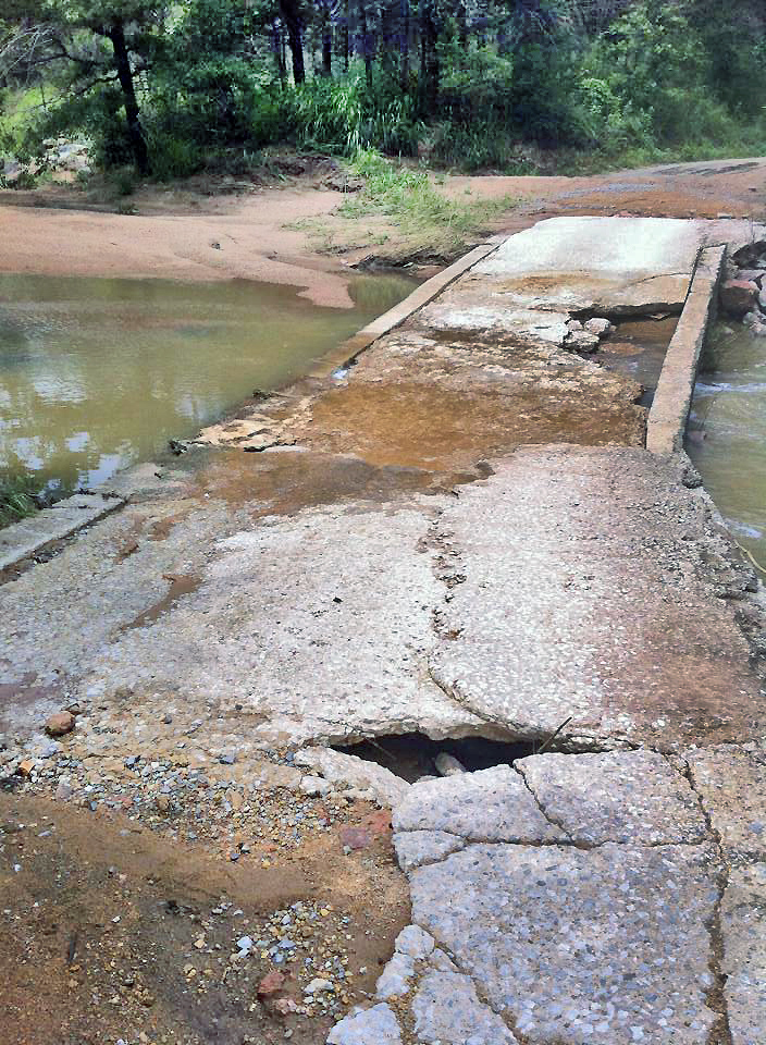 Damage to low-water crossing to camping Area 1 at Blue River Public Fishing and Hunting Area. (Matt Gamble ODWC)