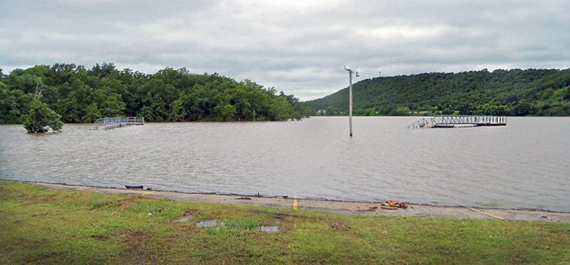 Boat launch area at Crowder city park on Lake Eufaula, with water covering the parking lot. (Danny Bowen ODWC)