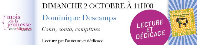 Dimanche 2 octobre à 11h - Dominique Descamps - Lecture de contes et dédicace