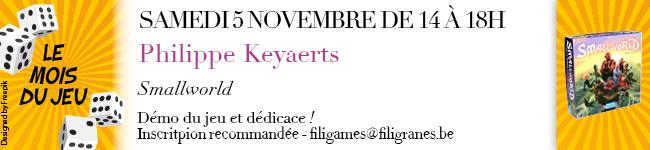 Samedi 5 novembre de 14 h à 18h - Philippe Keyaerts - Smallworld