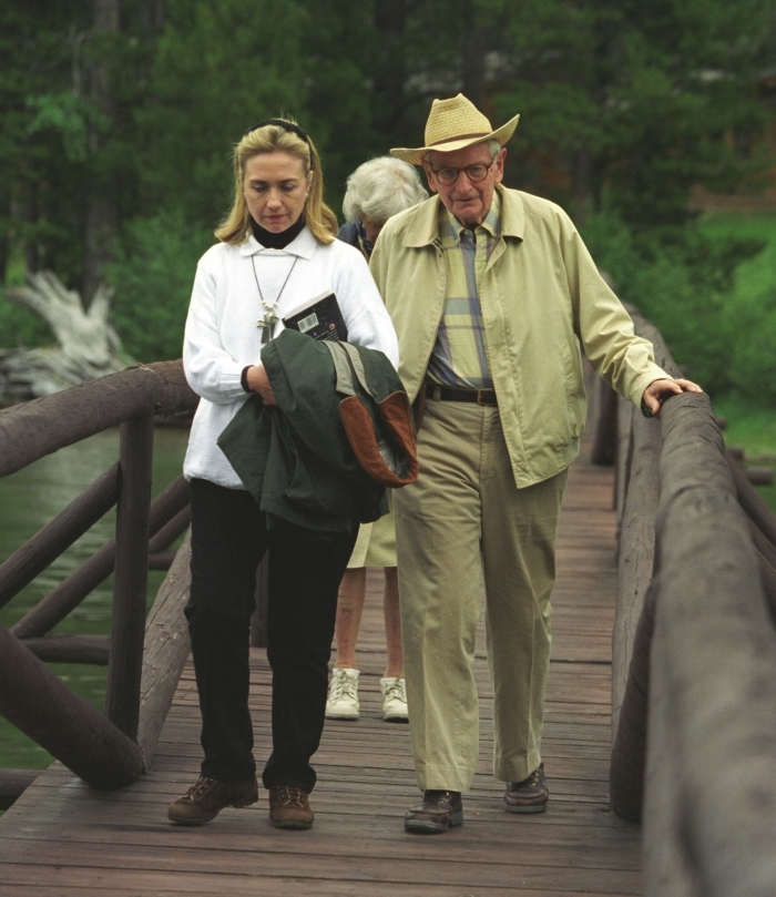 Secretary Clinton with Laurance Rockefeller (1995)