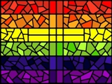 Stained glass rainbow flag with cross by Andrew Craig Williams