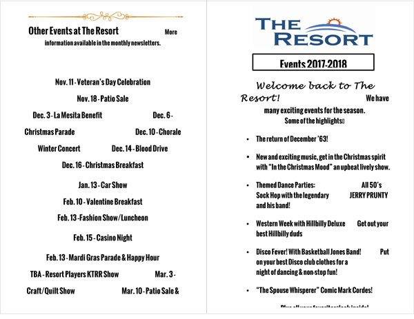 events brochure