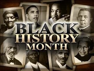 Famous black Americans on cards with text over the top: Black History Month