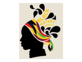 Black woman's silhouette, wearing headdress with text: Black History Month