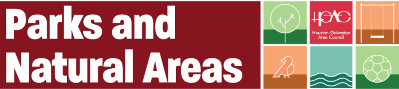 Parks and Natural Areas Banner with graphic representations of park elements H-GAC logo and Parks and Natural Areas on a field of maroon
