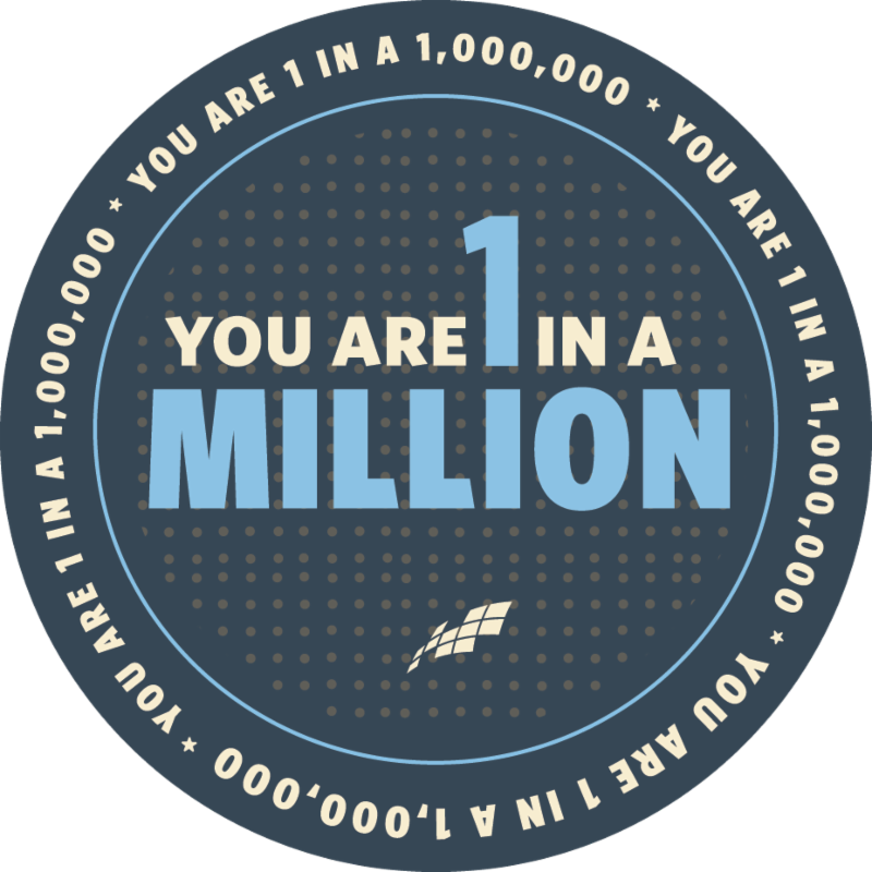 you are 1 in a million logo