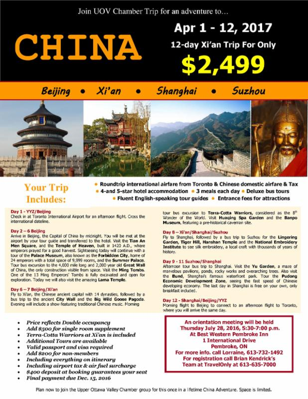 Upper ottawa valley chamber of commerce china trip april 2017 for Chambre commerce chine
