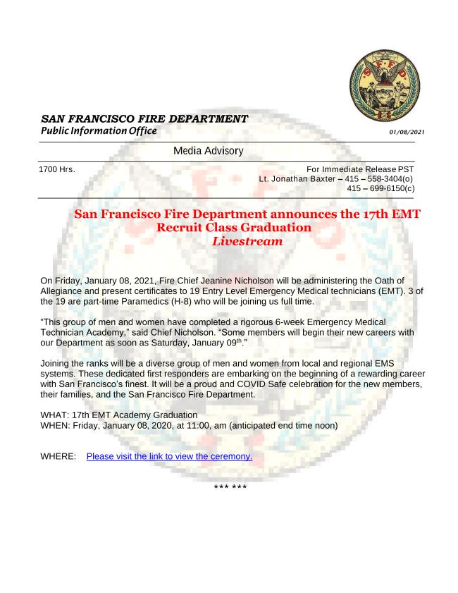 San Francisco Fire Department announces the 17th EMT Recruit Class Graduation COVID safe Livestream