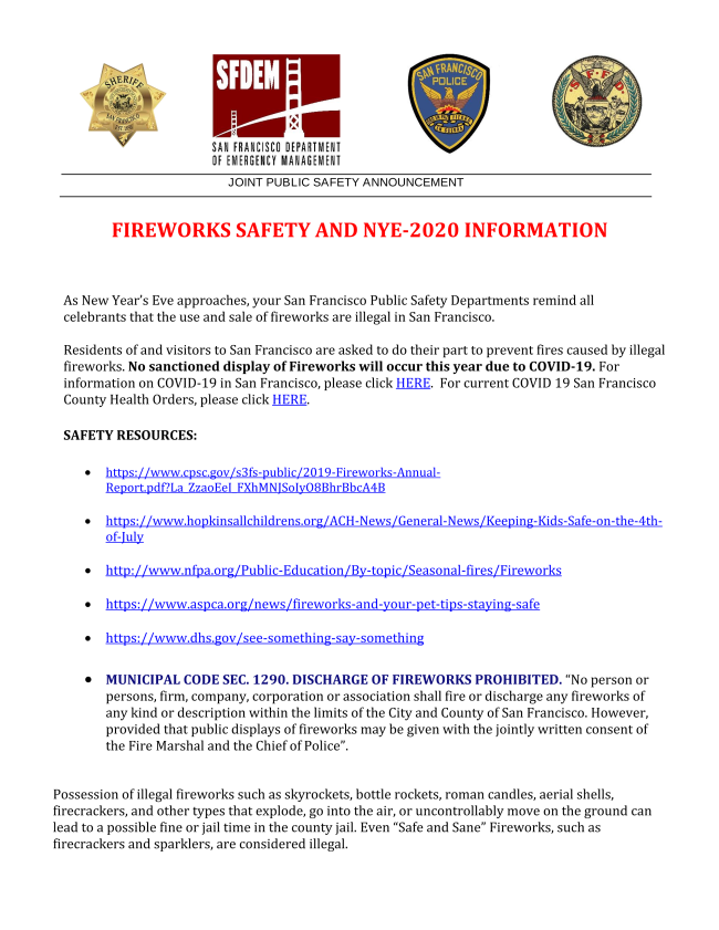 JOINT PUBLIC SAFETY RELEASE FOR NYE 2020