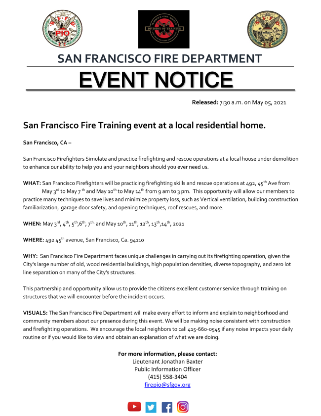 San Francisco Firefighters Simulate and practice firefighting and rescue operations at a local house under demolition to enhance our ability to help you and your neighbors should you ever need us.