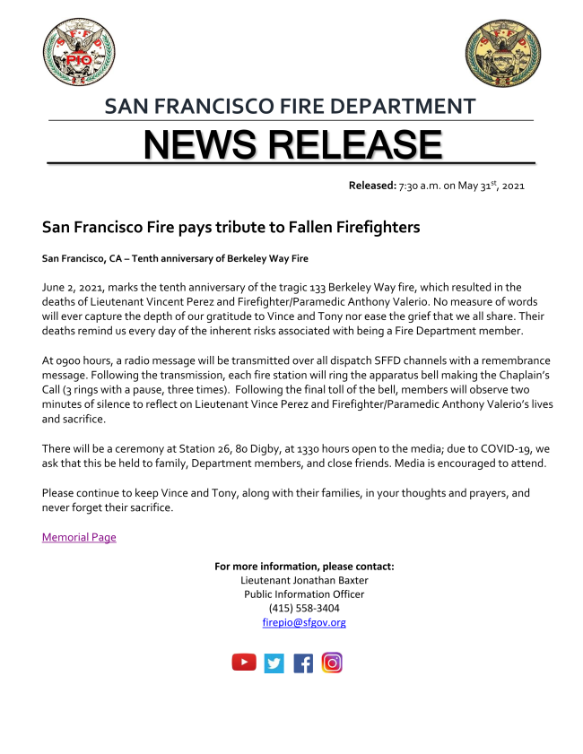 10 YEAR COMMEMORATION EVENT FOR FATAL BERKELEY WAY FIRE