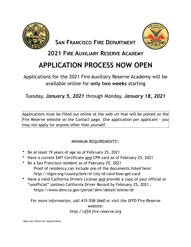 SAN FRANCISCO FIRE DEPARTMENT 2021 FIRE AUXILIARY RESERVE ACADEMY APPLICATION PROCESS NOW OPEN