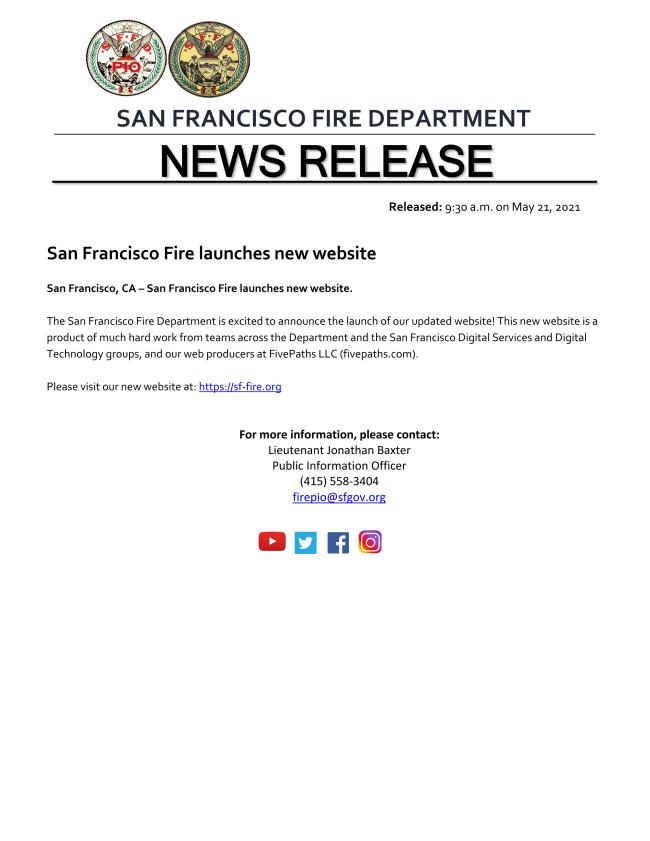 SAN FRANCISCO FIRE DEPARTMENT NEW WEBSITE