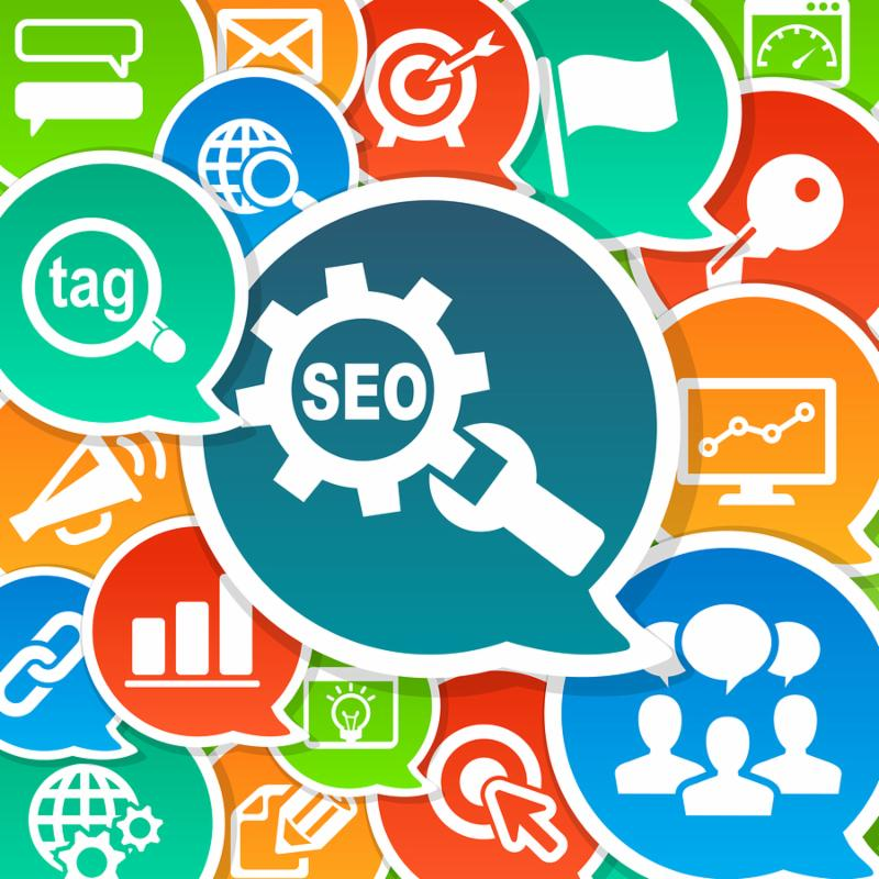 SEO Search Engine Optimization Marketing Concept Background with various icons