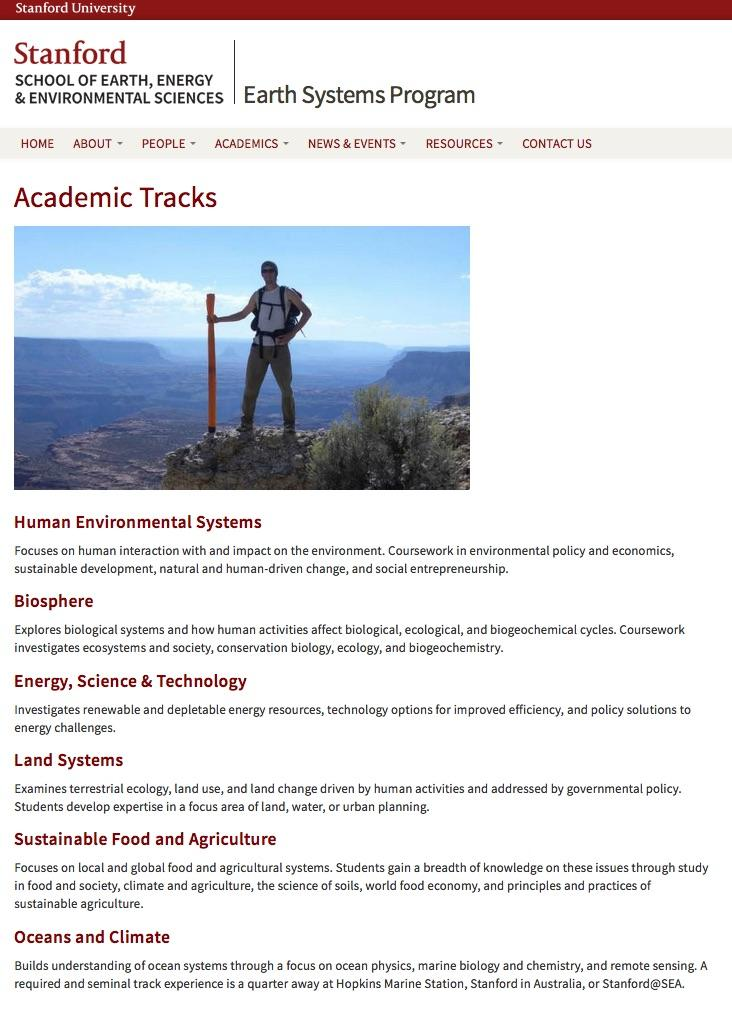 Screen capture of the Earth Systems website showing the course tracks section