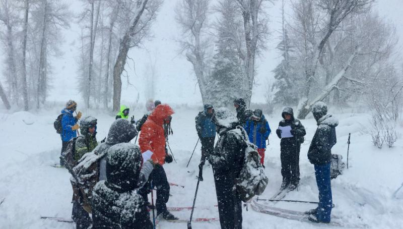Photo of students in an outdoor class on skiis with lots of snow