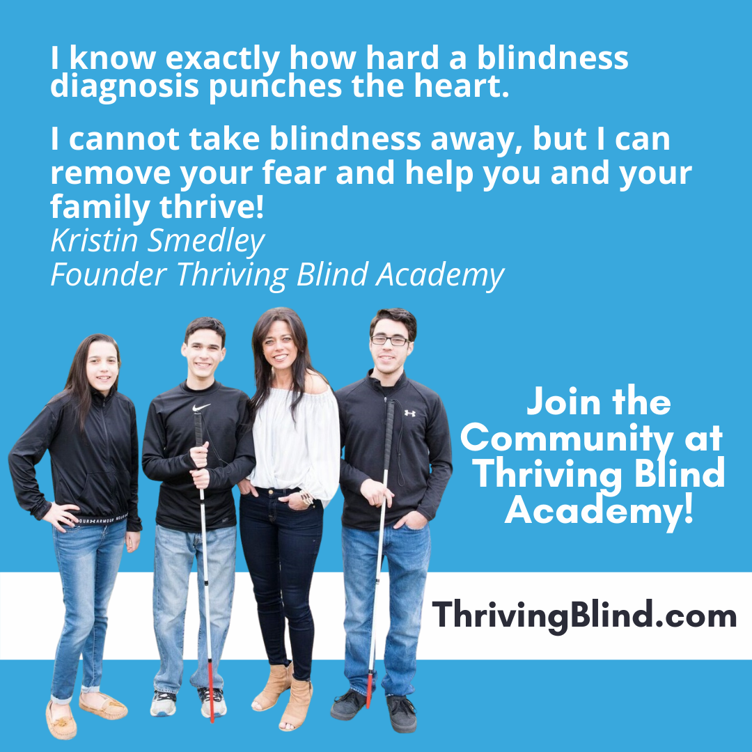 Kristin and her children, her boys with their white canes, with a quote saying she cannot take blindness away but she can remove your fear and help your family thrive