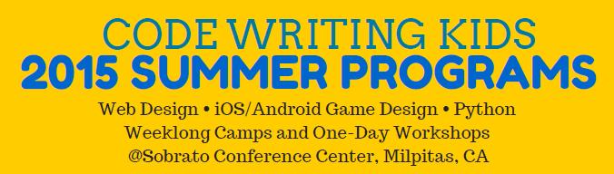 Code Writing Kids 2015 Summer Programs Bay Area Tutor
