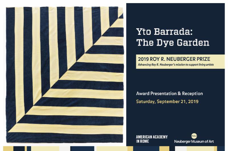 Invitation to the 2019 Roy R Neuberger Award Presentation and Reception for Yto Barrada