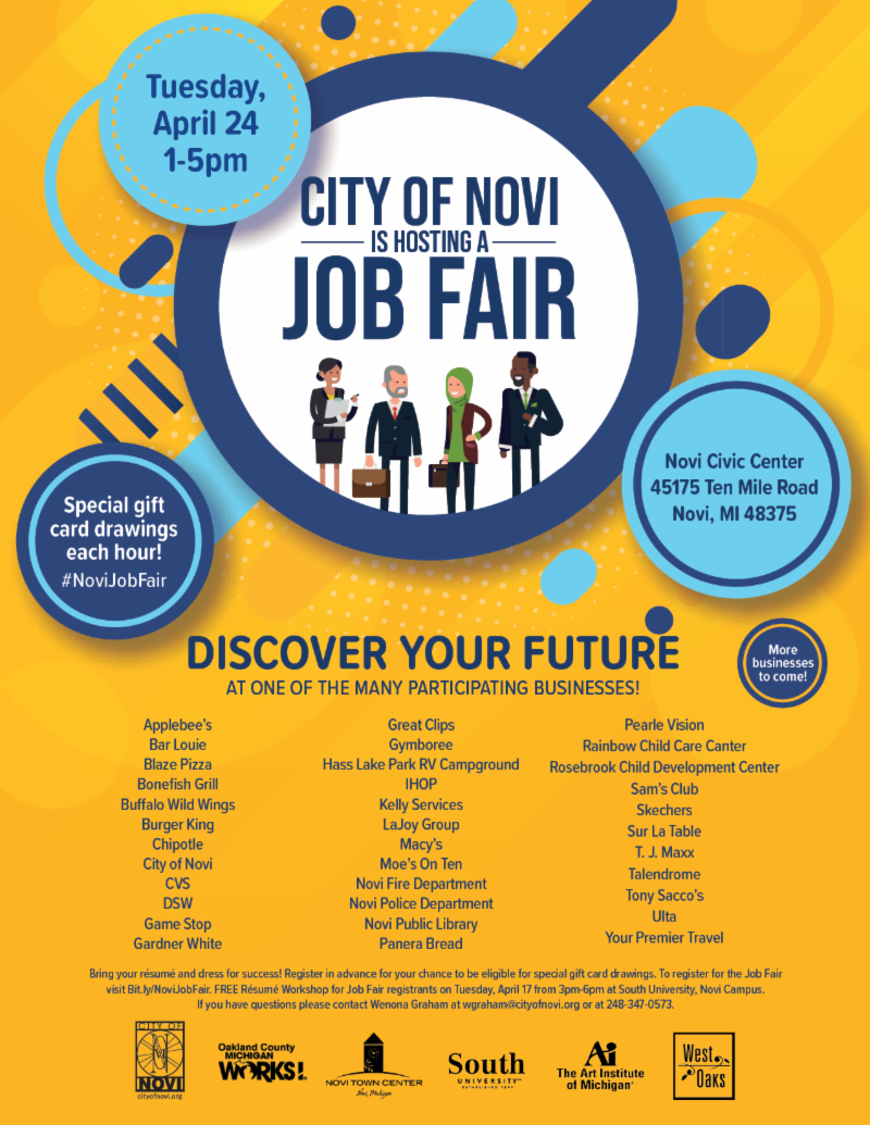 You\'re Invited to the City of Novi Job Fair