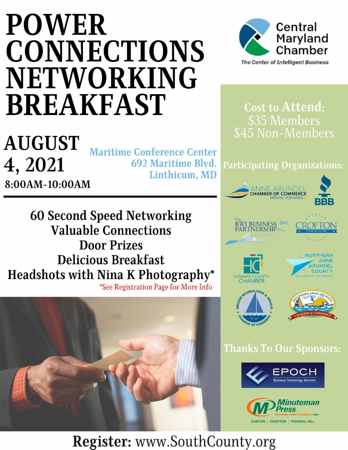 IN PERSON Power Connections Networking Breakfast 2021 (Balto & DC Metro) @ Maritime Conference Center