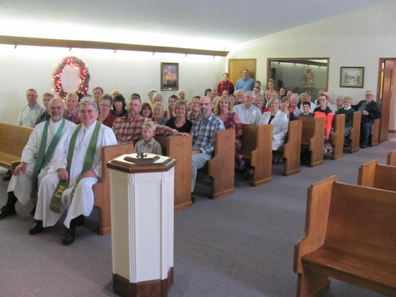 congregation seated in pews