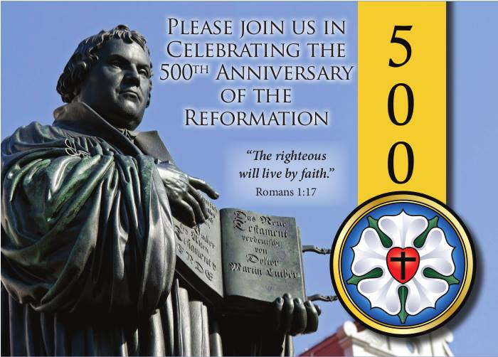 postcard inviting recipient to Reformation service
