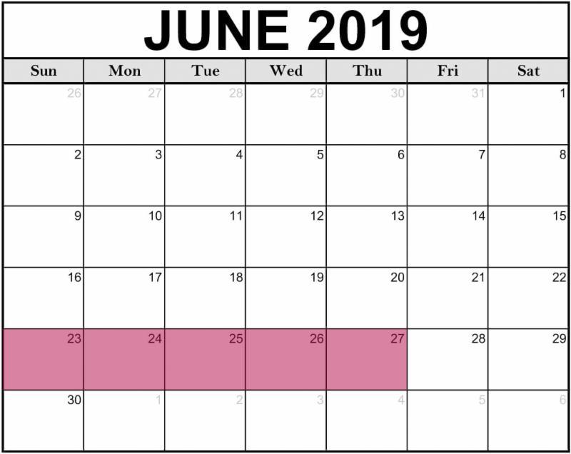 calendar with June 23-27 highlight