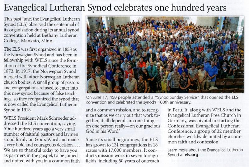 scan of Forward in Christ article re ELS centennial
