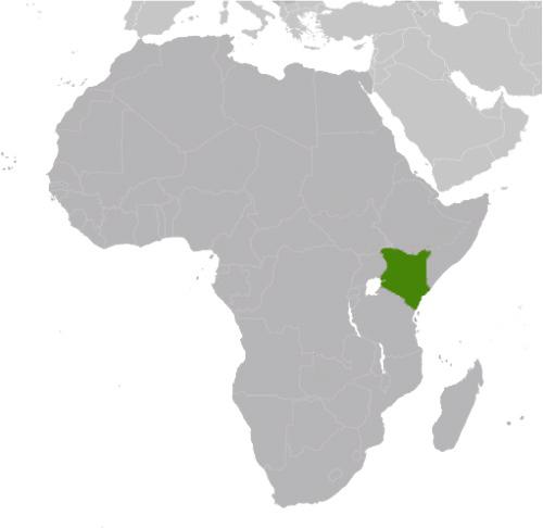 map of Africa with Kenya highlighted