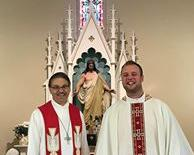 Pres. Moldstad and Pastor Soule in nave of church