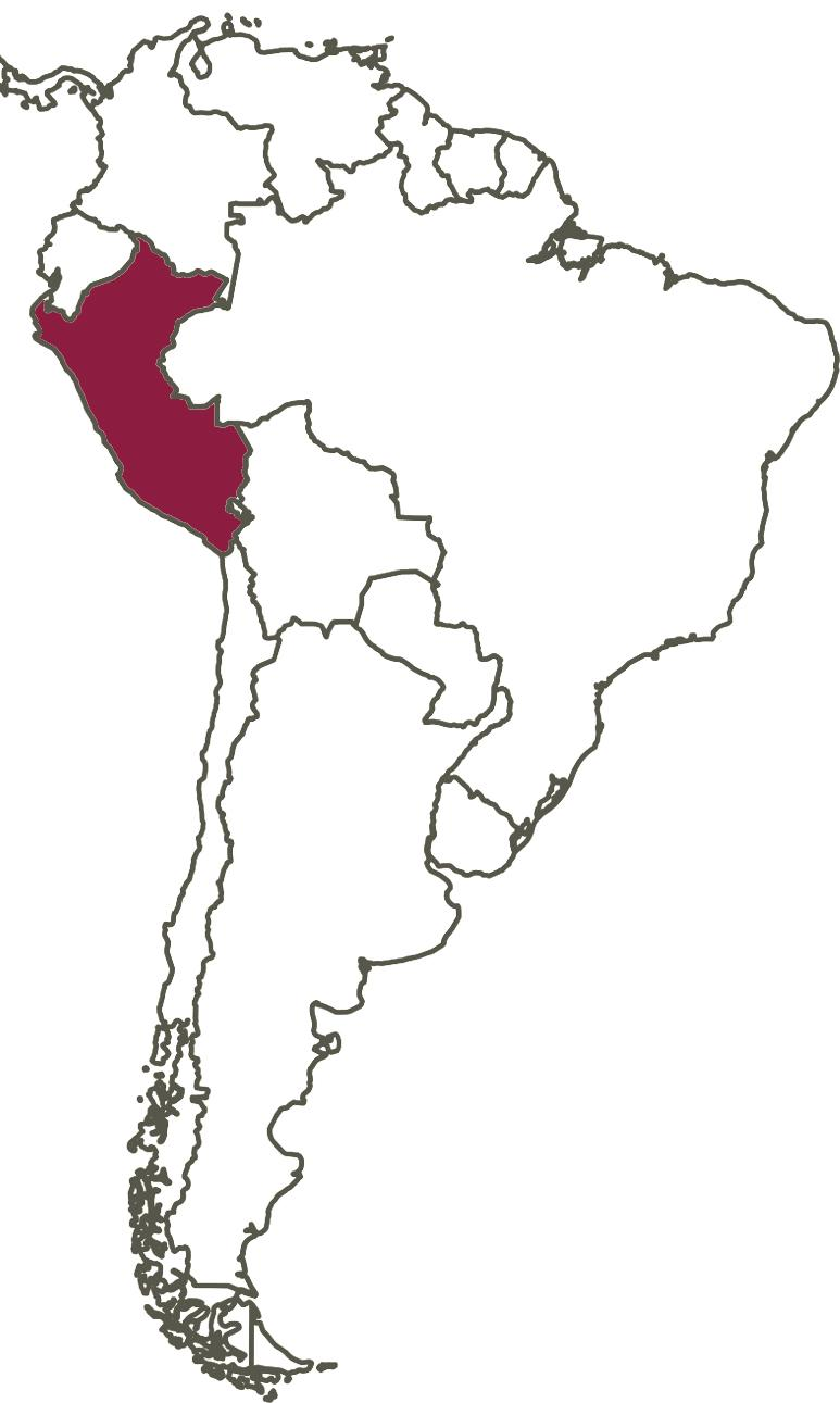 map of South America showing location of Peru