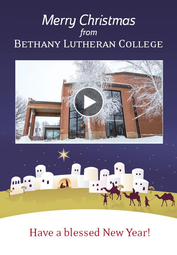 Christmas greeting card with Bethany Lutheran College building