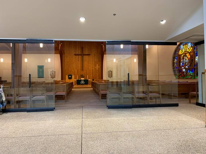 looking into the sanctuary from the new entrance