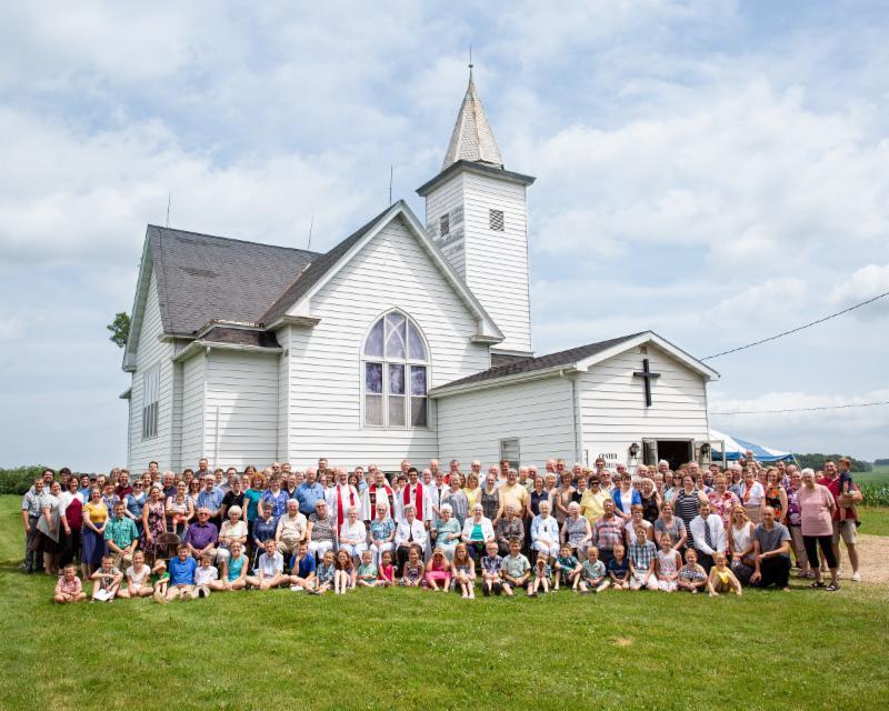 congregation outside Center church