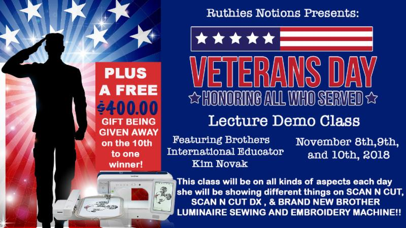 Veterans Day Event At Ruthies Notions