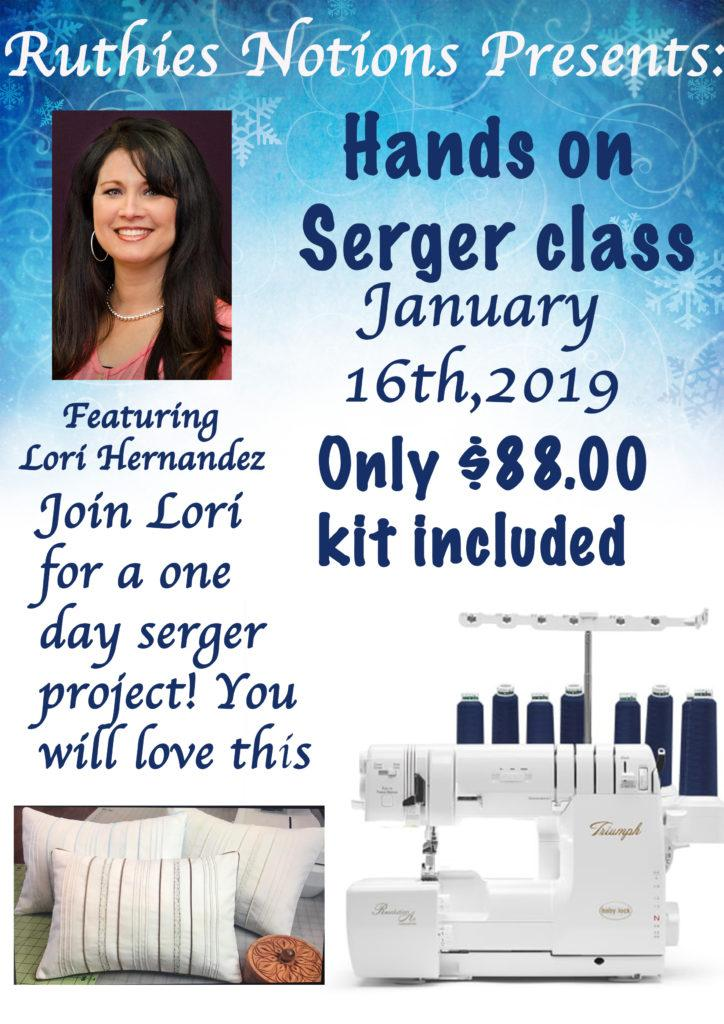 Jan 16 Hands On Serger Class