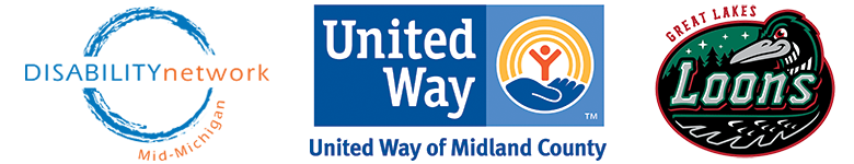 DNMM logo with United Way of Midland County logo and the Great Lakes Loons Logo