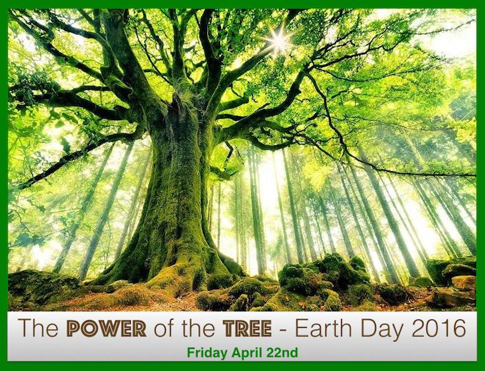 "A tree's branches is viewed from below with sunbeams shining through them. The words: ""The Power of the Tree -- Earth Day 2016"" is at the bottom of the graphic."