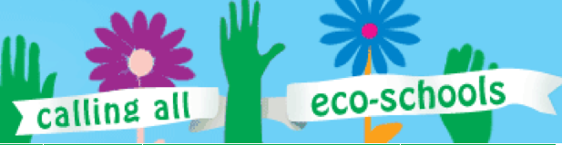 "The words ""Calling All Eco-Schools"" with flowers and hands illustrations."