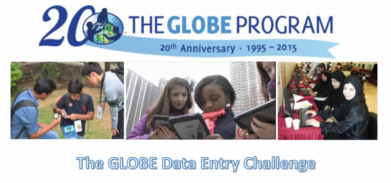 Banner with three images showing students taking and inputting data.