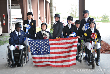 U.S. Riders (Left to right ) Derrick Perkins, Dale Dedrick, Roxanne Trunnell, Elliie Brimmer, Angela Peavy, Rebecca Hart, MAry Jordan, and Sydney Collier Photo (C) Lindsay Y. McCall