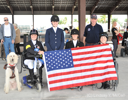 USA Team (Sydney Collier, Annie Peavy, Rebecca Hart, U.S. Chef D' Equipe Kai Handt, and Roxanne Trunnell. Photo (C) Lindsay Y. McCall