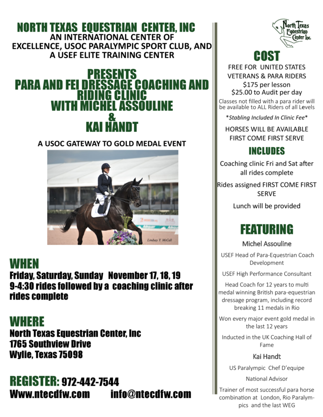 Para-Dressage and FEI Dressage Coaching and Riding Clinic with Michel Assouline and Kai Handt November 17-19