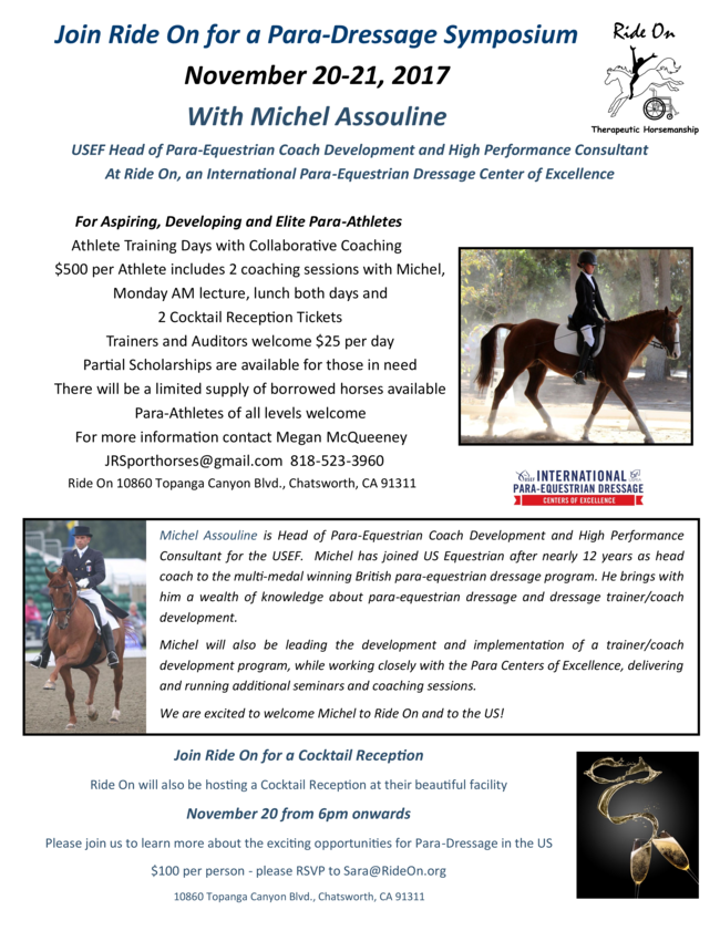 Join Ride On for a Para-Dressage Symposium November 20-21, 2017