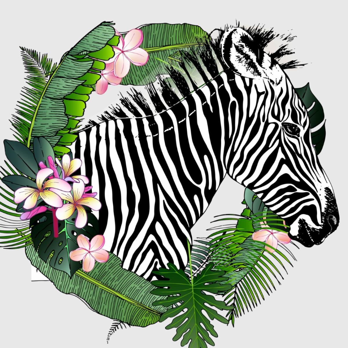 Zebra Gala 2020 Zebra n flowers